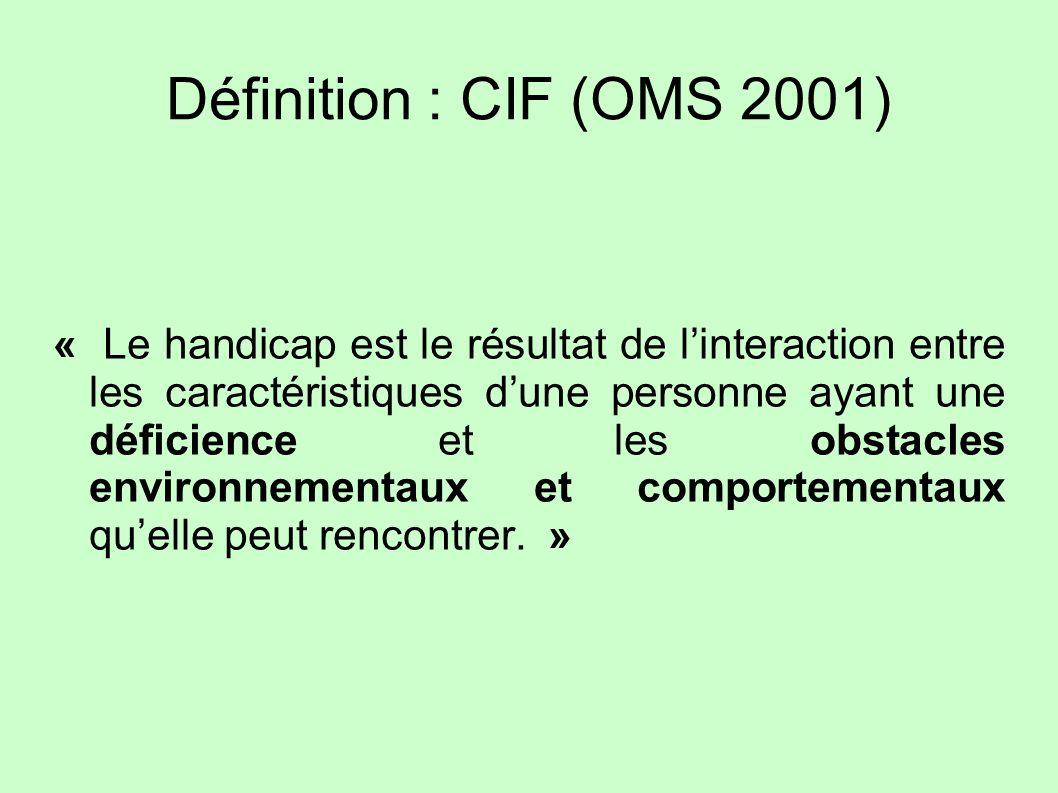 Définition : CIF (OMS 2001) « Le handicap est le résultat de linteraction entre les caractéristiques dune personne ayant une déficience et les obstacl