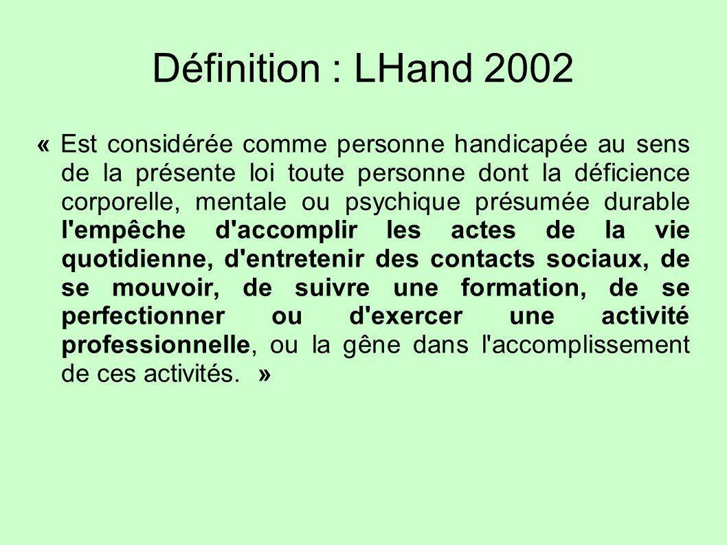 Définition : LHand 2002 « Est considérée comme personne handicapée au sens de la présente loi toute personne dont la déficience corporelle, mentale ou
