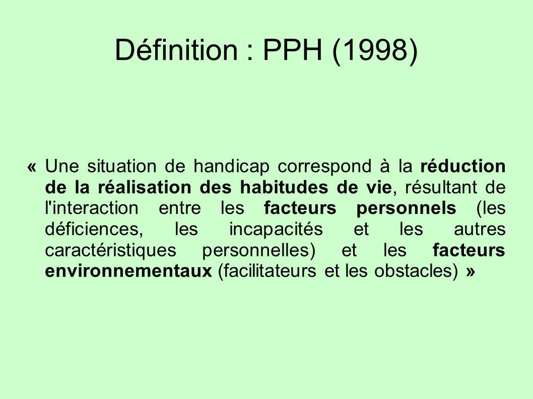 Définition : PPH (1998) « Une situation de handicap correspond à la réduction de la réalisation des habitudes de vie, résultant de l'interaction entre