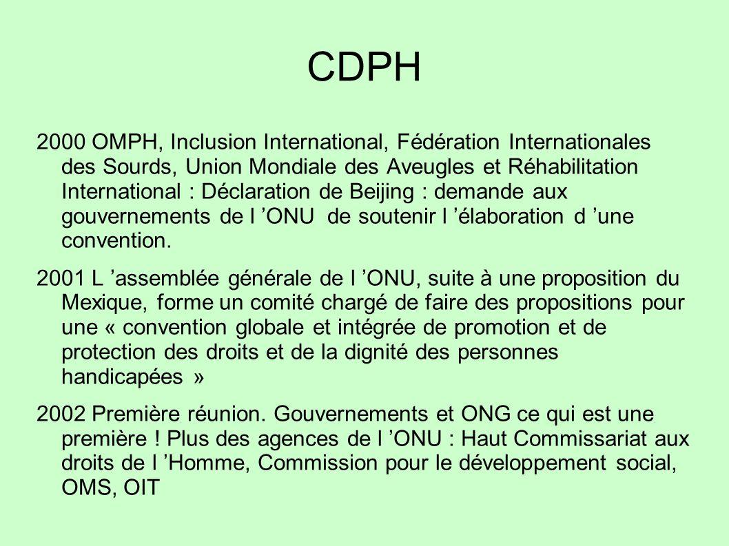 CDPH 2000 OMPH, Inclusion International, Fédération Internationales des Sourds, Union Mondiale des Aveugles et Réhabilitation International : Déclarat