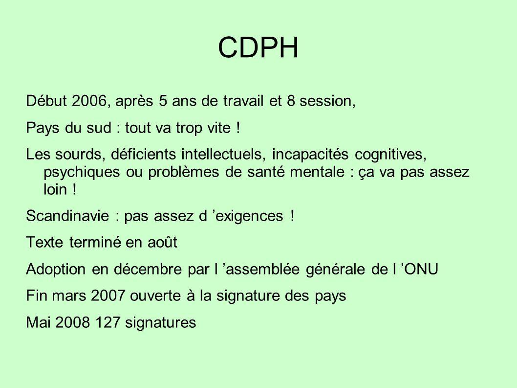 CDPH Début 2006, après 5 ans de travail et 8 session, Pays du sud : tout va trop vite ! Les sourds, déficients intellectuels, incapacités cognitives,