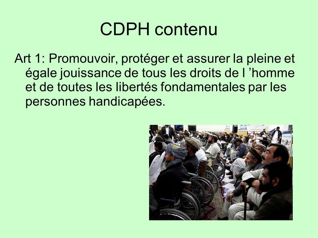 CDPH contenu Art 1: Promouvoir, protéger et assurer la pleine et égale jouissance de tous les droits de l homme et de toutes les libertés fondamentale