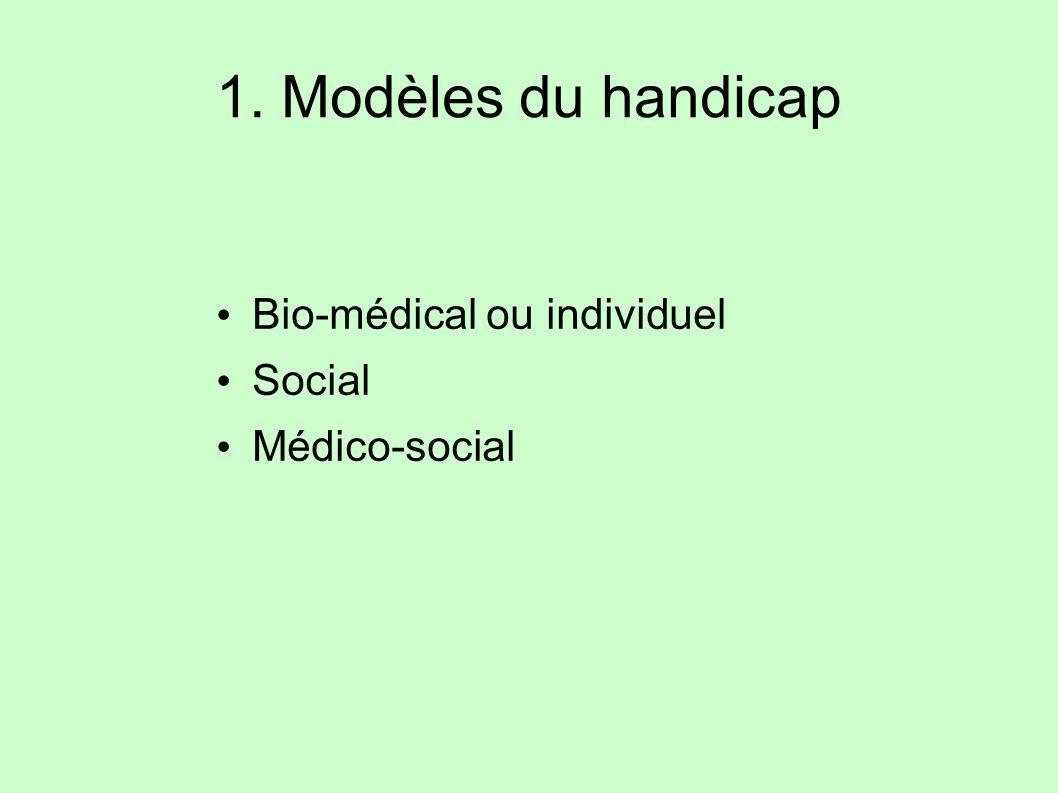 1. Modèles du handicap Bio-médical ou individuel Social Médico-social