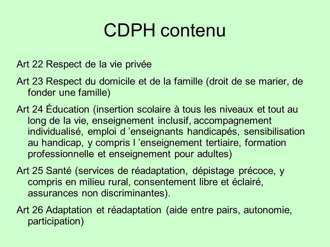 CDPH contenu Art 22 Respect de la vie privée Art 23 Respect du domicile et de la famille (droit de se marier, de fonder une famille) Art 24 Éducation