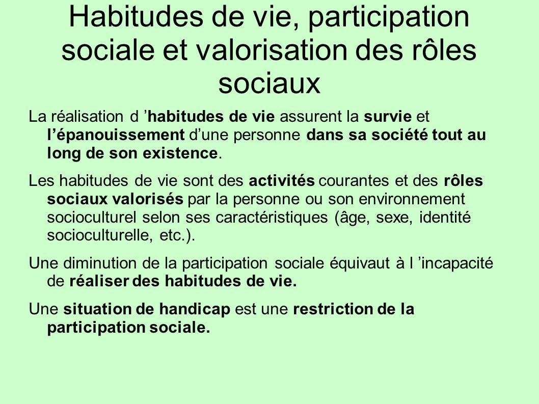 Habitudes de vie, participation sociale et valorisation des rôles sociaux La réalisation d habitudes de vie assurent la survie et lépanouissement dune