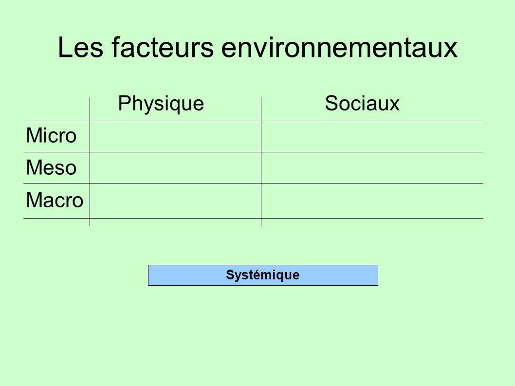Les facteurs environnementaux PhysiqueSociaux Micro Meso Macro Systémique