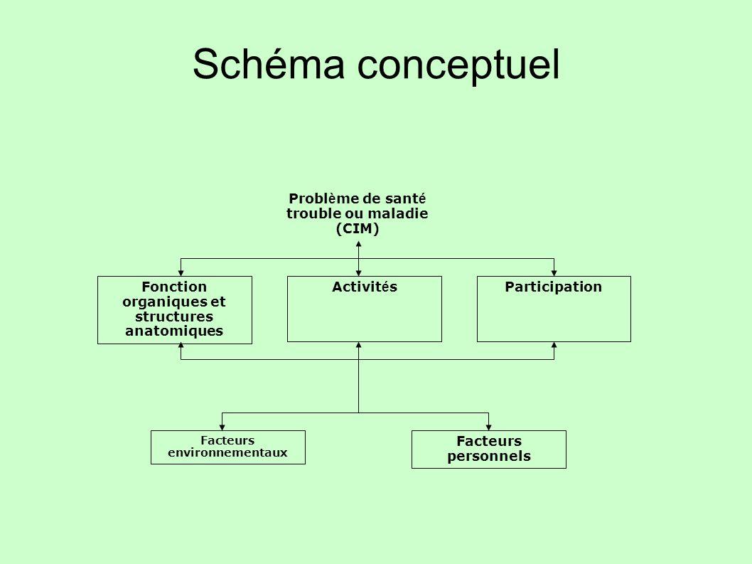 Schéma conceptuel Fonction organiques et structures anatomiques Activit é sParticipation Facteurs environnementaux Facteurs personnels Probl è me de s