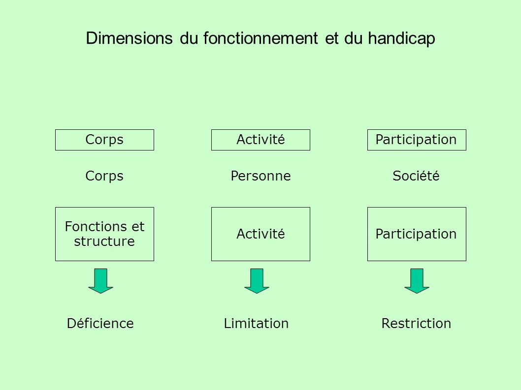 Dimensions du fonctionnement et du handicap CorpsActivit é Participation Fonctions et structure Activit é Participation CorpsPersonneSoci é t é D é fi