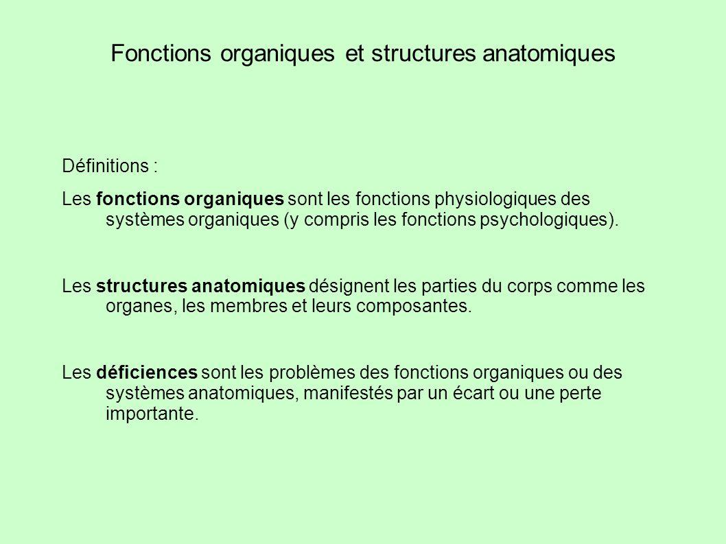 Fonctions organiques et structures anatomiques Définitions : Les fonctions organiques sont les fonctions physiologiques des systèmes organiques (y com