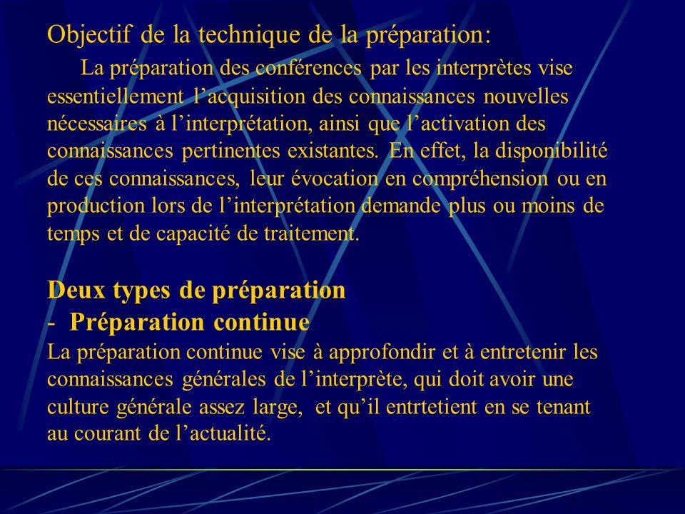 Objectif de la technique de la préparation: La préparation des conférences par les interprètes vise essentiellement lacquisition des connaissances nouvelles nécessaires à linterprétation, ainsi que lactivation des connaissances pertinentes existantes.