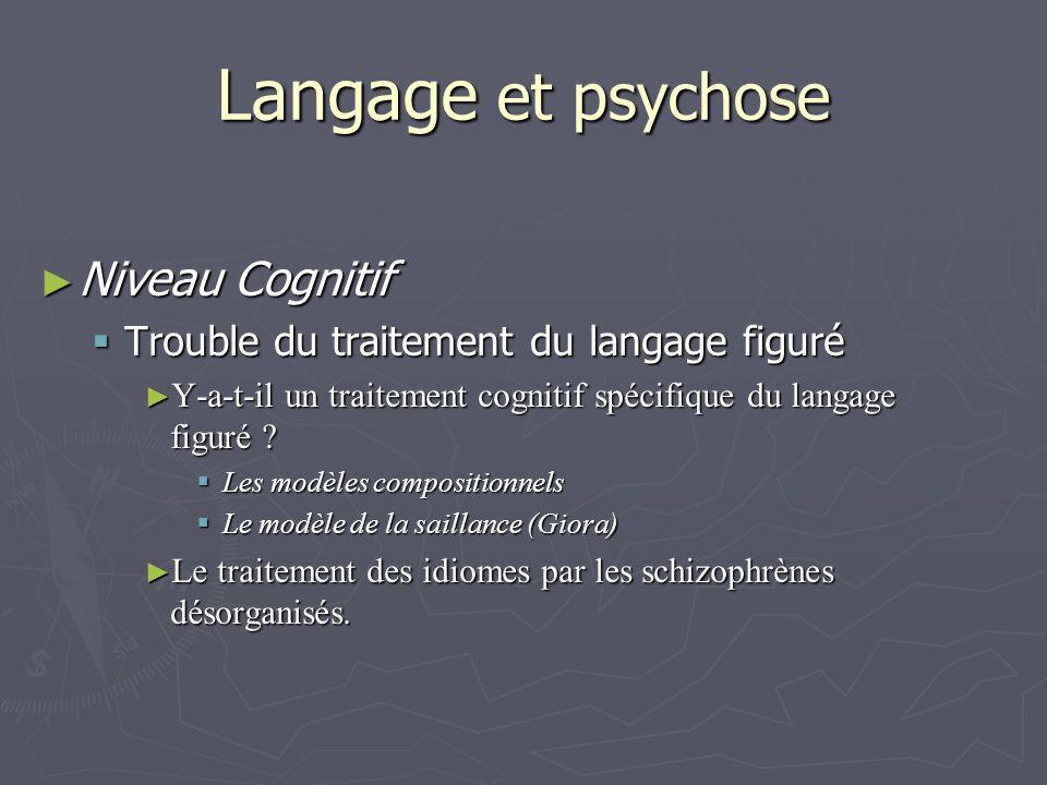 Langage et psychose Niveau Cognitif Niveau Cognitif Trouble du traitement du langage figuré Trouble du traitement du langage figuré Y-a-t-il un traitement cognitif spécifique du langage figuré .