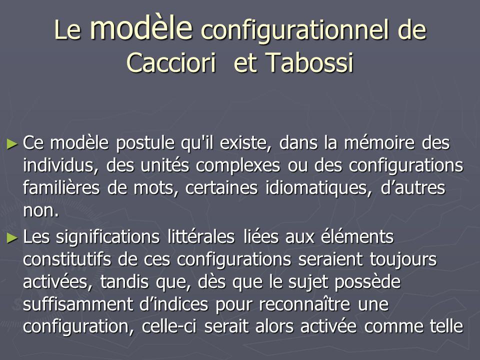 Le modèle configurationnel de Cacciori et Tabossi Ce modèle postule qu il existe, dans la mémoire des individus, des unités complexes ou des configurations familières de mots, certaines idiomatiques, dautres non.