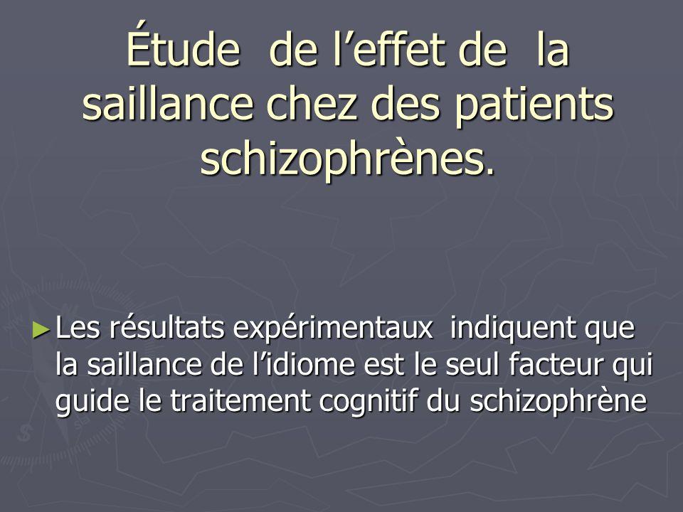 Étude de leffet de la saillance chez des patients schizophrènes. Les résultats expérimentaux indiquent que la saillance de lidiome est le seul facteur