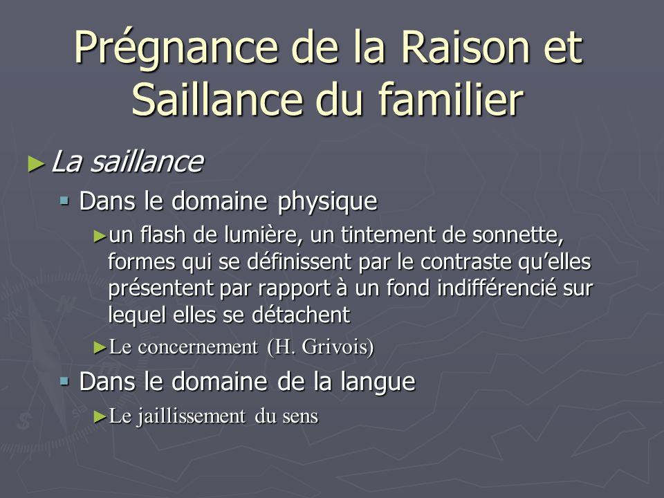 Prégnance de la Raison et Saillance du familier La saillance La saillance Dans le domaine physique Dans le domaine physique un flash de lumière, un ti