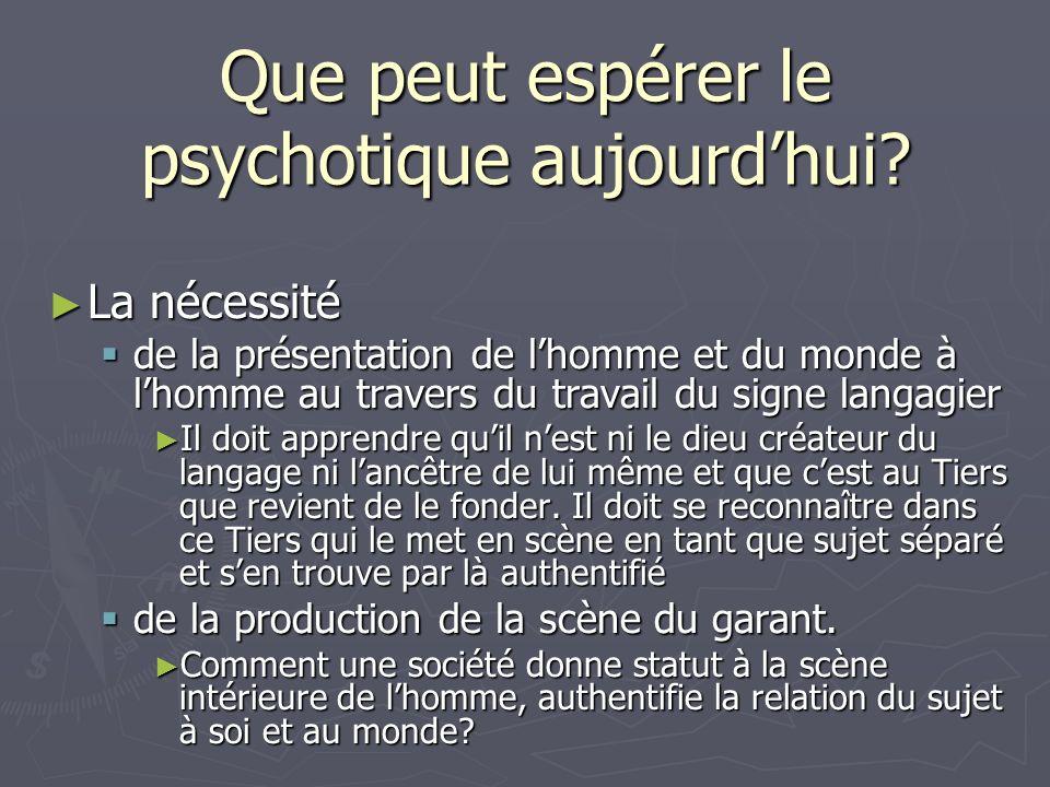Que peut espérer le psychotique aujourdhui? La nécessité La nécessité de la présentation de lhomme et du monde à lhomme au travers du travail du signe