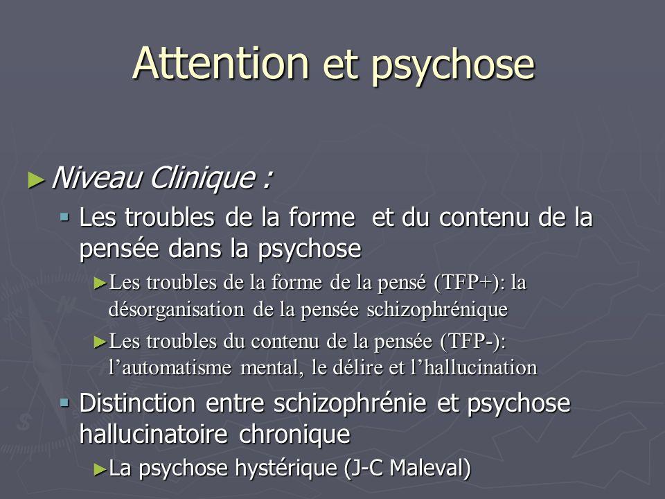 Attention et psychose Niveau Clinique : Niveau Clinique : Les troubles de la forme et du contenu de la pensée dans la psychose Les troubles de la form