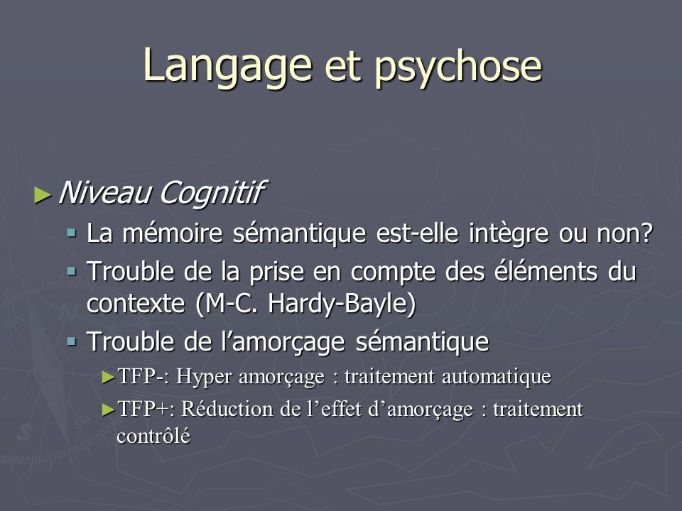 Langage et psychose Niveau Cognitif Niveau Cognitif La mémoire sémantique est-elle intègre ou non.
