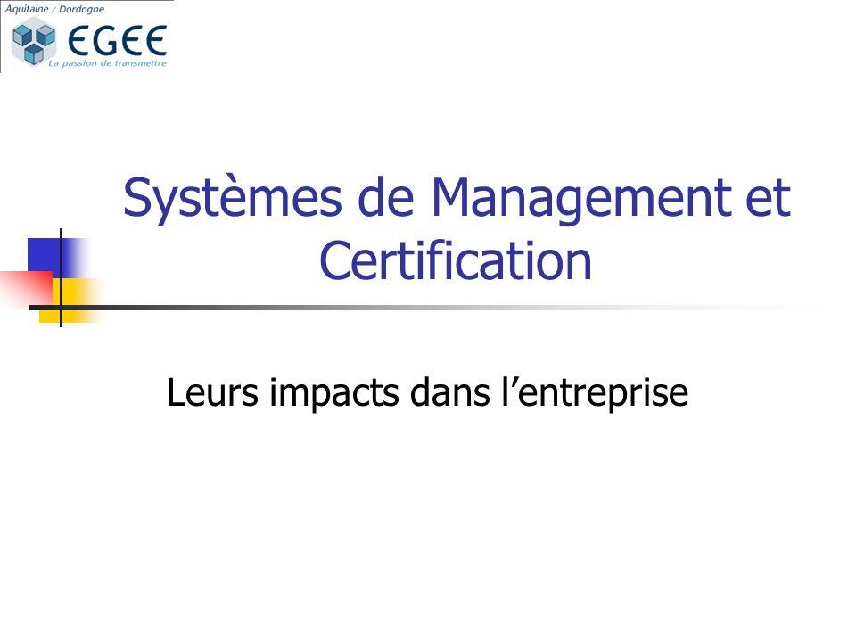 Systèmes de Management et Certification Leurs impacts dans lentreprise