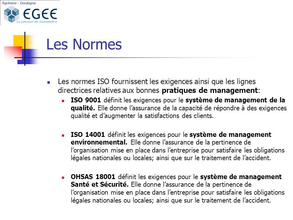 Les Normes Les normes ISO fournissent les exigences ainsi que les lignes directrices relatives aux bonnes pratiques de management: ISO 9001 définit les exigences pour le système de management de la qualité.