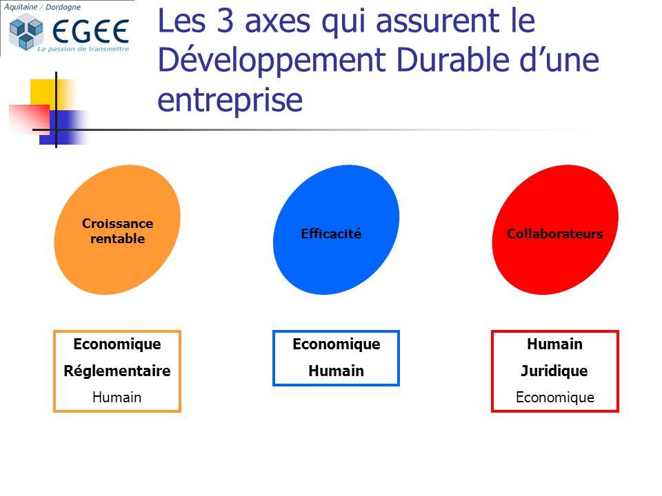 Les 3 axes qui assurent le Développement Durable dune entreprise Croissance rentable EfficacitéCollaborateurs Economique Réglementaire Humain Economique Humain Juridique Economique