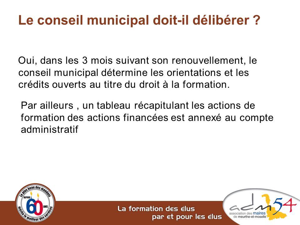Le conseil municipal doit-il délibérer ? Oui, dans les 3 mois suivant son renouvellement, le conseil municipal détermine les orientations et les crédi