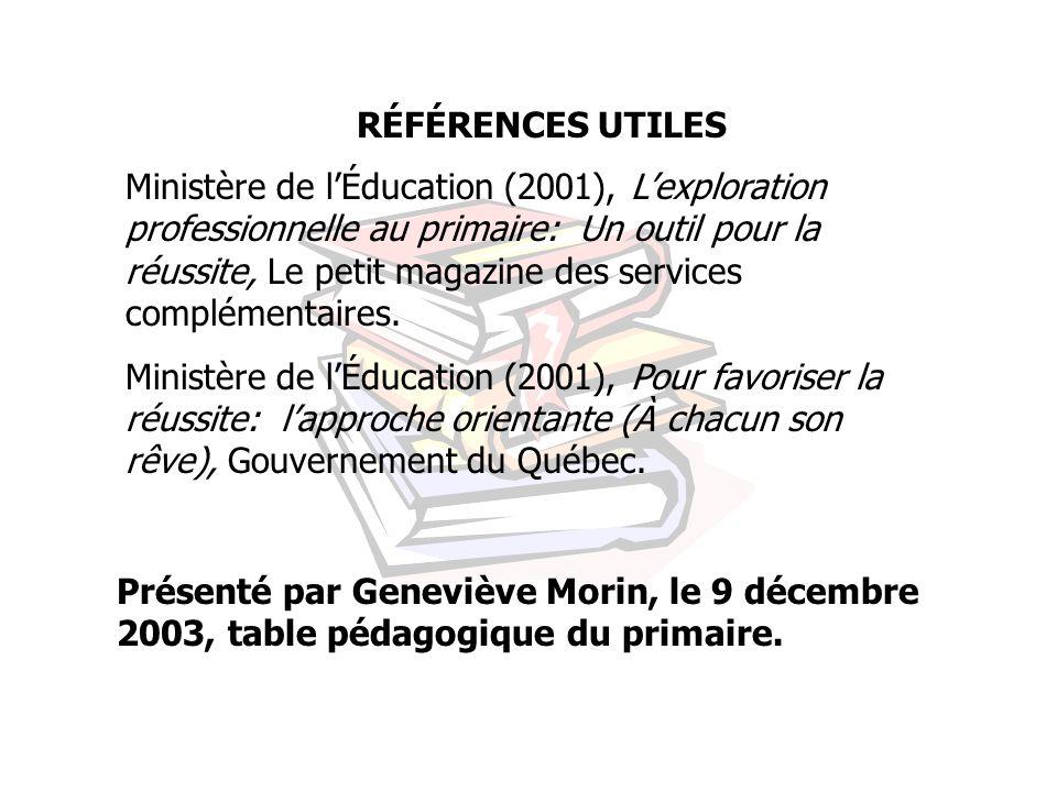RÉFÉRENCES UTILES Ministère de lÉducation (2001), Lexploration professionnelle au primaire: Un outil pour la réussite, Le petit magazine des services complémentaires.