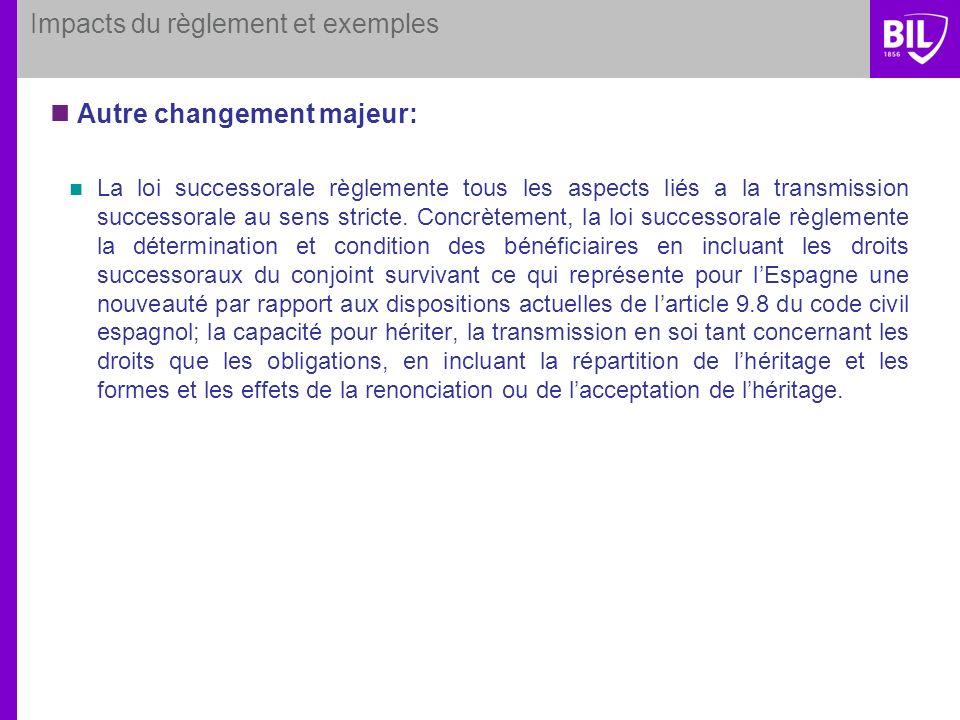 Impacts du règlement et exemples Autre changement majeur: La loi successorale règlemente tous les aspects liés a la transmission successorale au sens