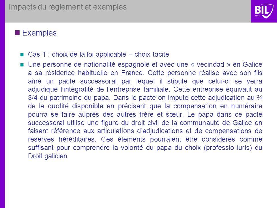 Impacts du règlement et exemples Exemples Cas 1 : choix de la loi applicable – choix tacite Une personne de nationalité espagnole et avec une « vecind