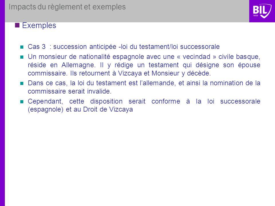 Impacts du règlement et exemples Exemples Cas 3 : succession anticipée -loi du testament/loi successorale Un monsieur de nationalité espagnole avec un