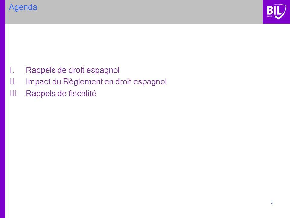 2 Agenda I.Rappels de droit espagnol II.Impact du Règlement en droit espagnol III.Rappels de fiscalité