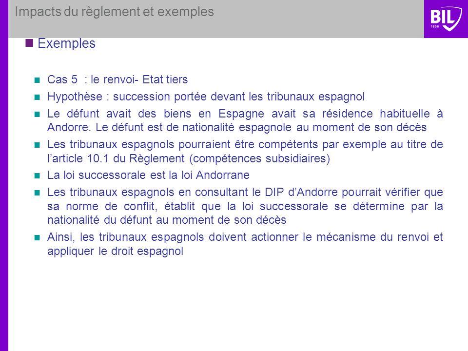 Impacts du règlement et exemples Exemples Cas 5 : le renvoi- Etat tiers Hypothèse : succession portée devant les tribunaux espagnol Le défunt avait de