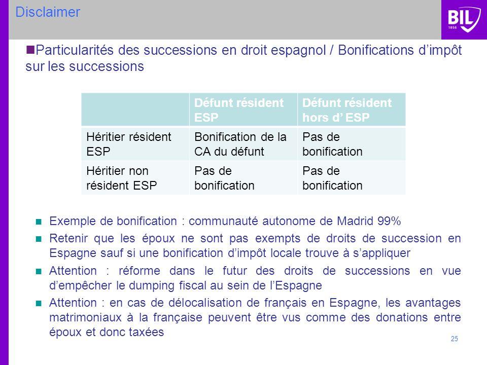 25 Disclaimer Particularités des successions en droit espagnol / Bonifications dimpôt sur les successions Exemple de bonification : communauté autonom
