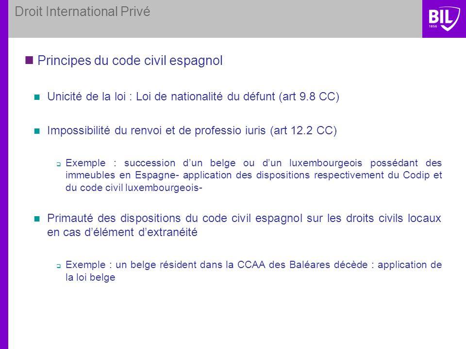 Droit International Privé Principes du code civil espagnol Unicité de la loi : Loi de nationalité du défunt (art 9.8 CC) Impossibilité du renvoi et de