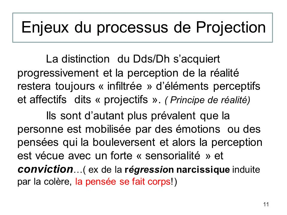 Enjeux du processus de Projection La distinction du Dds/Dh sacquiert progressivement et la perception de la réalité restera toujours « infiltrée » déléments perceptifs et affectifs dits « projectifs ».