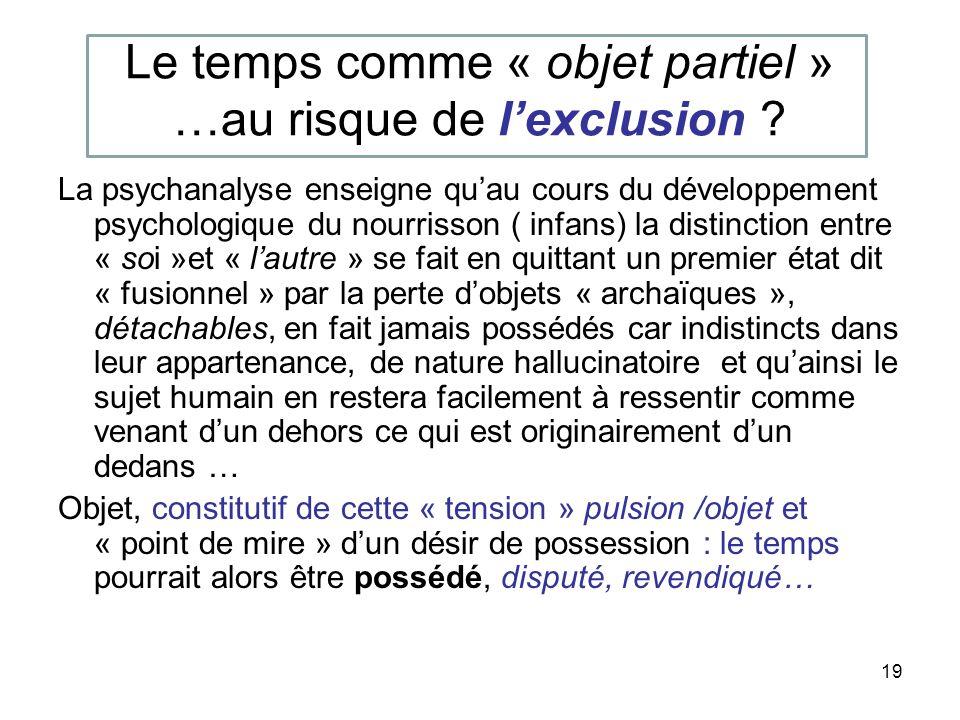 19 Le temps comme « objet partiel » …au risque de lexclusion .