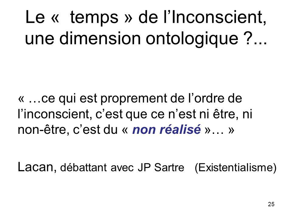 Le « temps » de lInconscient, une dimension ontologique ?...