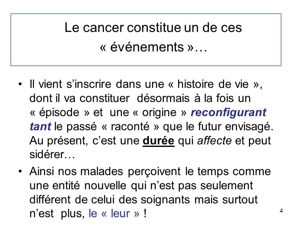 4 Le cancer constitue un de ces « événements »… Il vient sinscrire dans une « histoire de vie », dont il va constituer désormais à la fois un « épisode » et une « origine » reconfigurant tant le passé « raconté » que le futur envisagé.