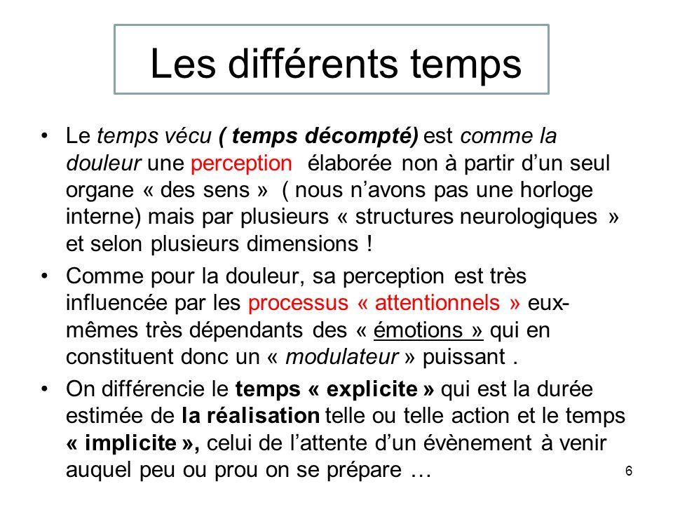 6 Les différents temps Le temps vécu ( temps décompté) est comme la douleur une perception élaborée non à partir dun seul organe « des sens » ( nous navons pas une horloge interne) mais par plusieurs « structures neurologiques » et selon plusieurs dimensions .