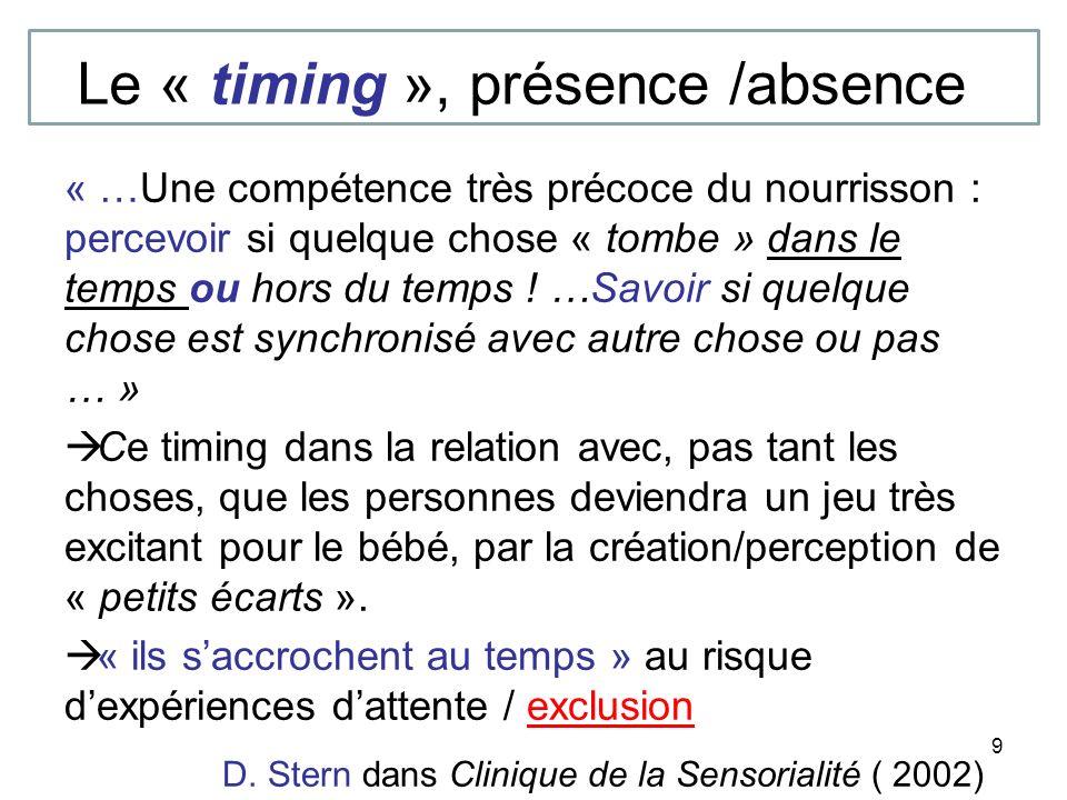 9 Le « timing », présence /absence « …Une compétence très précoce du nourrisson : percevoir si quelque chose « tombe » dans le temps ou hors du temps .