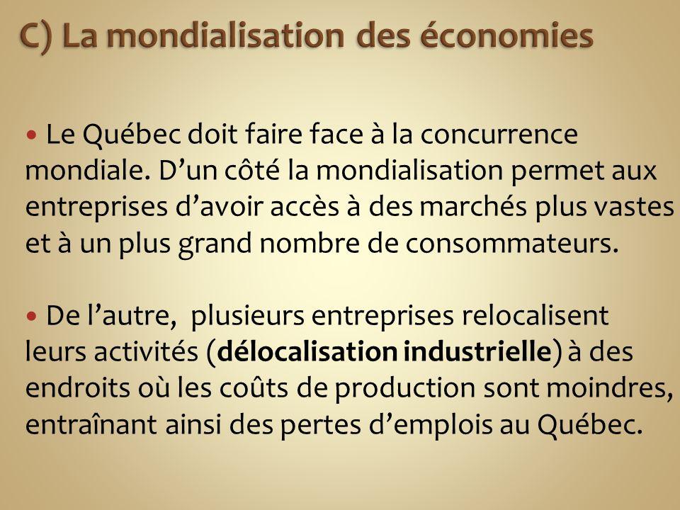 Le Québec doit faire face à la concurrence mondiale.