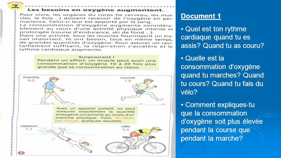 Document 1 Quel est ton rythme cardiaque quand tu es assis? Quand tu as couru? Quelle est la consommation doxygène quand tu marches? Quand tu cours? Q