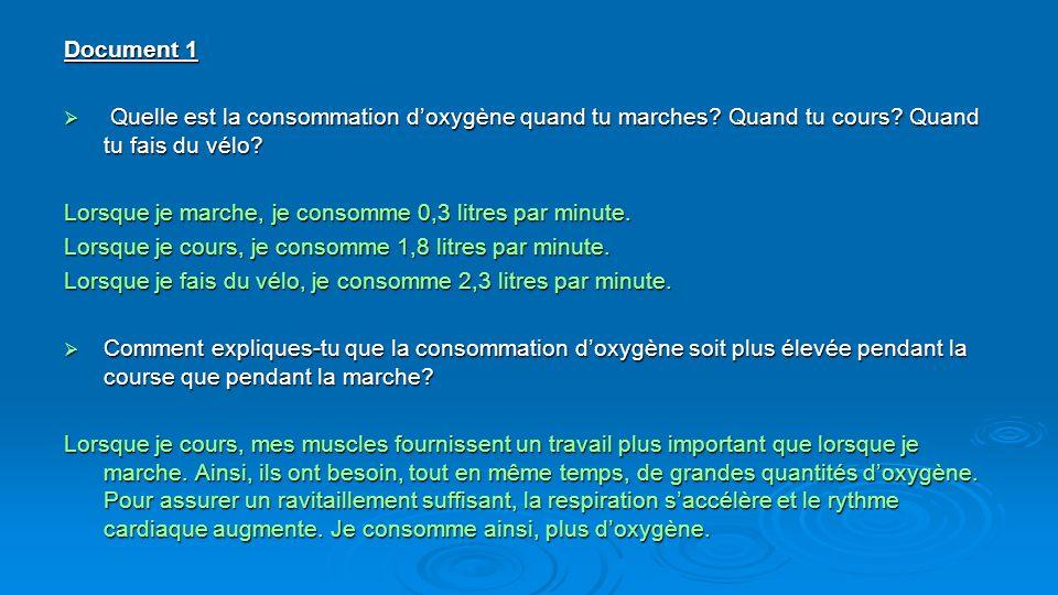 Document 1 Quelle est la consommation doxygène quand tu marches? Quand tu cours? Quand tu fais du vélo? Quelle est la consommation doxygène quand tu m