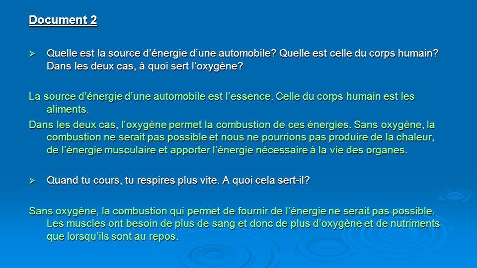 Document 2 Quelle est la source dénergie dune automobile? Quelle est celle du corps humain? Dans les deux cas, à quoi sert loxygène? Quelle est la sou