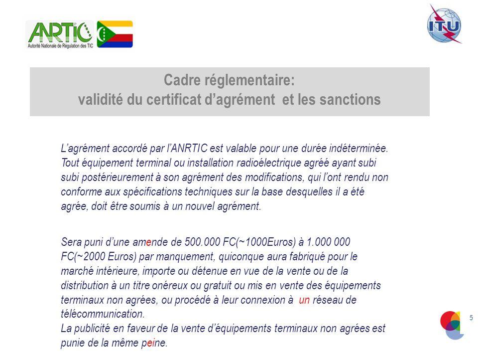 5 Cadre réglementaire: validité du certificat dagrément et les sanctions Lagrément accordé par lANRTIC est valable pour une durée indéterminée.
