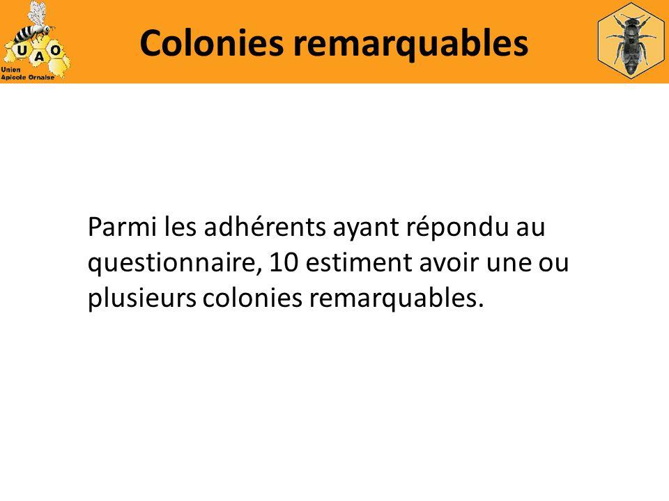 Colonies remarquables Parmi les adhérents ayant répondu au questionnaire, 10 estiment avoir une ou plusieurs colonies remarquables.