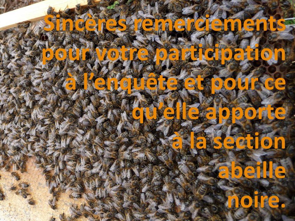 Sincères remerciements pour votre participation à lenquête et pour ce quelle apporte à la section abeille noire.