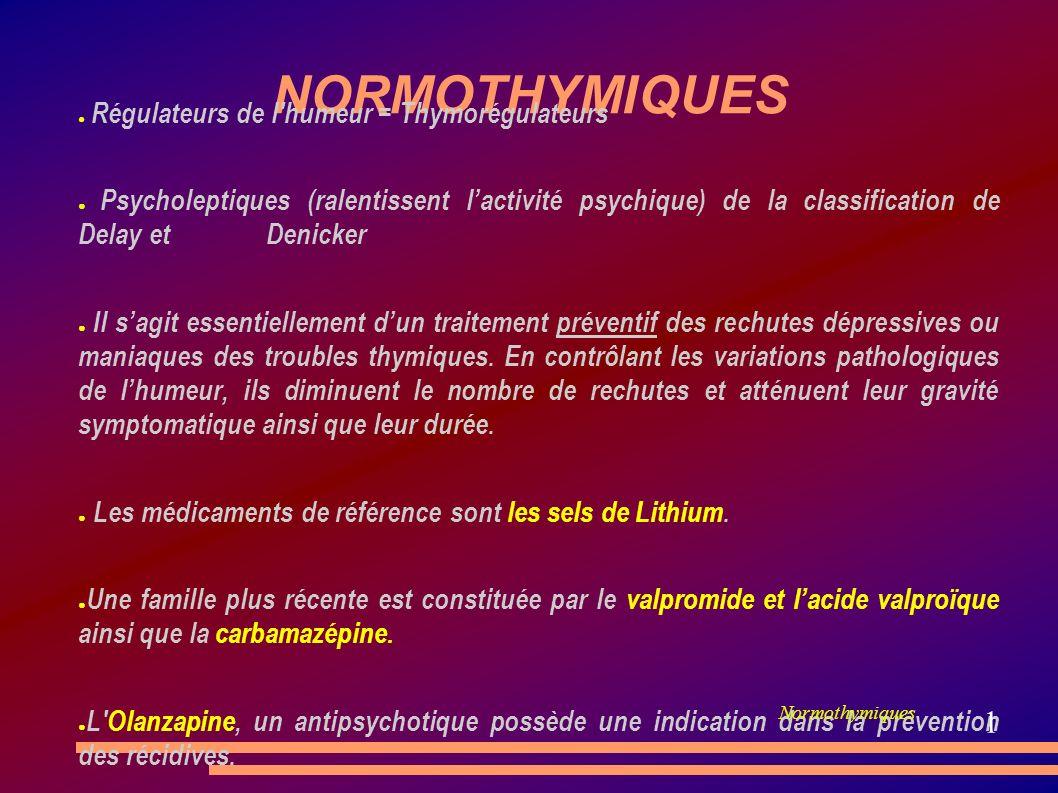 NORMOTHYMIQUES Régulateurs de l'humeur = Thymorégulateurs Psycholeptiques (ralentissent lactivité psychique) de la classification de Delay et Denicker