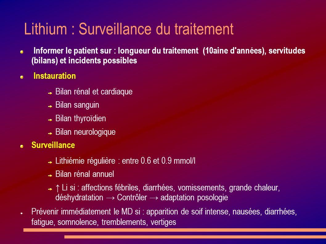 Lithium : Surveillance du traitement Informer le patient sur : longueur du traitement (10aine d'années), servitudes (bilans) et incidents possibles In