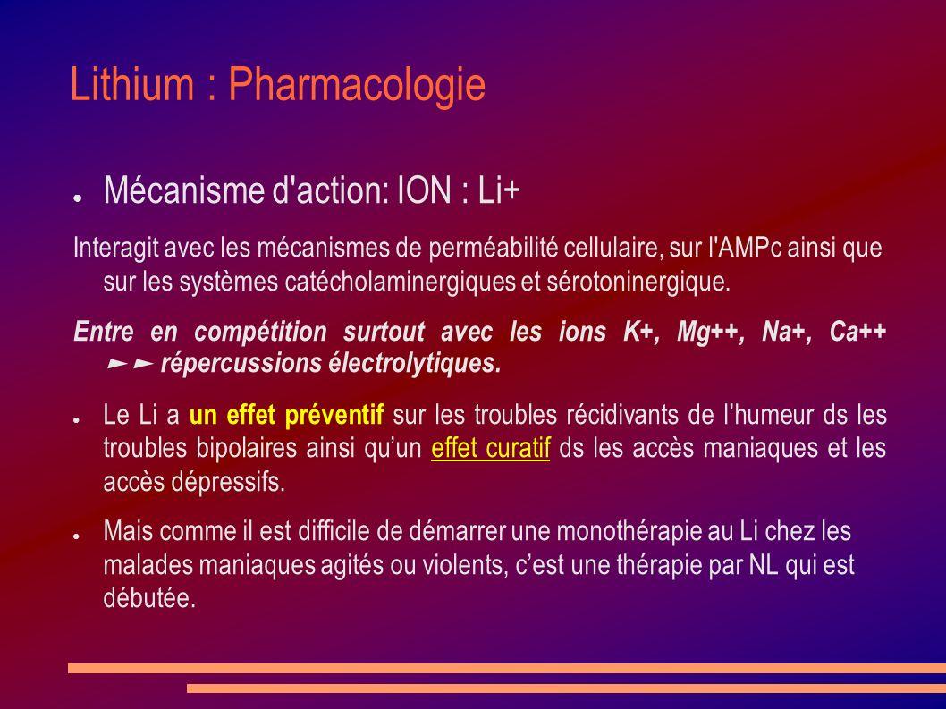 Lithium : Pharmacologie Mécanisme d'action: ION : Li+ Interagit avec les mécanismes de perméabilité cellulaire, sur l'AMPc ainsi que sur les systèmes