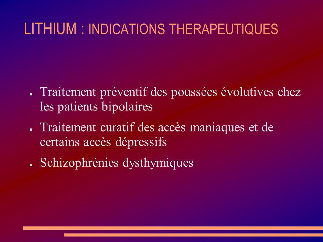 LITHIUM : INDICATIONS THERAPEUTIQUES Traitement préventif des poussées évolutives chez les patients bipolaires Traitement curatif des accès maniaques